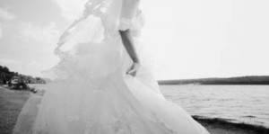 Caucasian beautiful bride on wedding day.