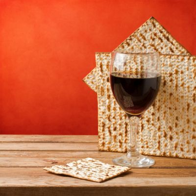 Background with glass of wine and matza for passover celebration